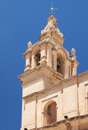 priory: The view of the bell tower of St Pauls Cathedral - a Roman Catholic cathedral in the city of Mdina, Malta