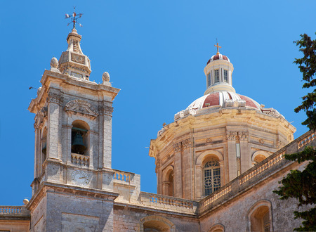 collegiate: The view of the dome and the bell tower of Collegiate Church of St Paul in Rabat, Malta