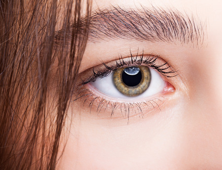 hazel: Closeup shot of hazel female eye makeup Stock Photo