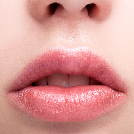 plump: Closeup shot of female pink  plump lips makeup