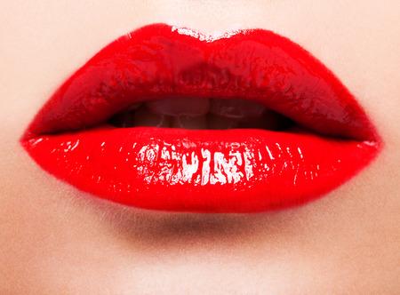 close shot: Close up shot of red female lips