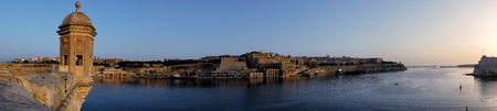 The panoramic view of the Valletta capital city with the Grand harbor from Senglea peninsula. Malta