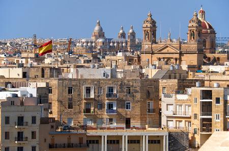 residental: The view of Malta main churches: Isla Basilica in Senglea and Church of Christ the King in Paola from  Kalkara, Malta