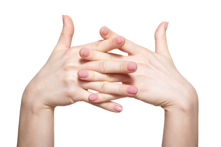 naildesign: Female hands with womans professional natursl pink nails manicure isolated on white Stock Photo