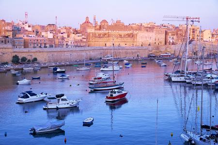 armlet: View on Malta bay between Kalkara and Birgu with yachts at early morning