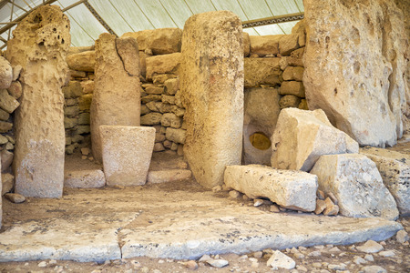 megaliths: The menhirs of the megalithic structures interior of Hagar Qim temples, Malta