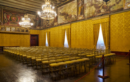 stool: VALLETTA, MALTA - JULY 31, 2015: The interior of the Throne room, originally known as the Supreme Council Hall. Grandmasters Palace. Valletta. Malta