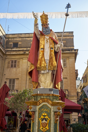 papiermache: VALLETTA, MALTA - JULY 31, 2015: A holiday decoration presented statue of Pope Saint Pius V.  The statue made of papier-mache prepared for the holiday of Assumption of Virgin Mary. Editorial
