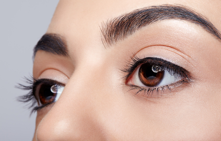Closeup shot of female eye with day makeup eyes shadows Stock Photo