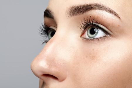 Close-up macroportret van vrouwelijk gezicht. Menselijke vrouw open ogen met make-up voor dag schoonheid. Meisje met perfecte huid en sproeten.