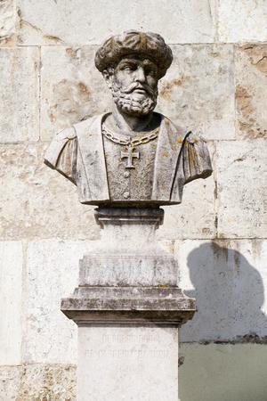 바스 코 다 가마 흉상, 산 페드로 드 알칸타라 정원의 유명한 탐험가이자 포르투갈 탐험가 스톡 콘텐츠 - 86263891