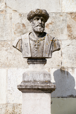 Bust of Vasco da Gama, the famous navigator and Portugese explorer, in the San Pedro de Alcantara Garden