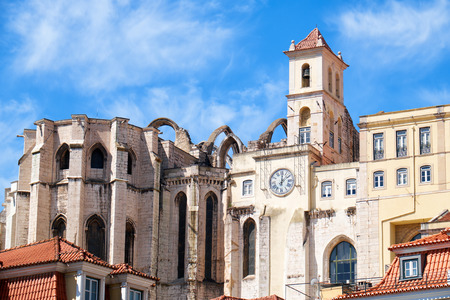 law of portugal: The view of Convent of Our Lady of Mount Carmel destroyed by the Lisbon earthquake in 1755 as seen from the Rossio square, Lisbon. Portugal