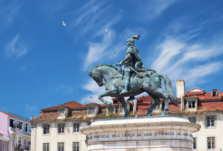 The bronze equestrian statue of King Joao I, by sculptor Leopoldo de Almeida,  on the square of the Fig Tree (Praca da Figueira) in the central of Lisbon. Portugal