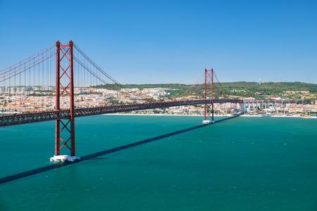 a suspension bridge over Tagus river. The former named Salazar Bridge it was renamed to commemorates the Carnation Revolution. Lisbon. Portugal