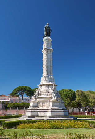 Monument of the Second Governor of Portugese India Afonso de Albuquerque made in neo-Manueline style in the center of Afonso de Albuquerque Square. Lisbon. Portugal
