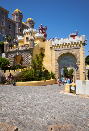 decorative balconies: SINTRA, PORTUGAL - JULY 03, 2016: The main gate to the inner courtyard of Pena Palace. Sintra. Portugal Editorial