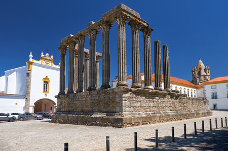 EVORA, PORTUGAL - JULY 01, 2016: Temple of Diana, the Roman temple of Evora dedicated to the cult of Emperor Augustus - the most famous landmark of Evora. Portugal Editorial