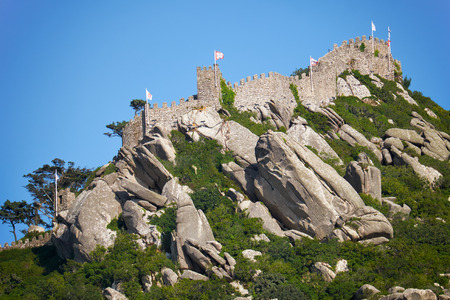 The view of Castle of the Moors, perched on top of the inaccessibleRocky cliff, Sintra. Portugal. Editorial