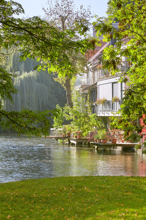 Historic houses by river Gera in inner Erfurt, Thuringia, Germany in spring