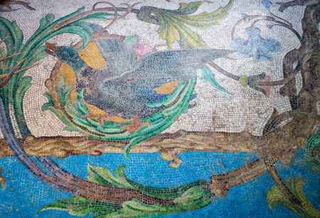 SINTRA, PORTUGAL - JULY 03, 2016: Colorful mosaic on the dining room floor depicting mallard duck in Quinta da Regaleira palace. Sintra. Portugal Editorial