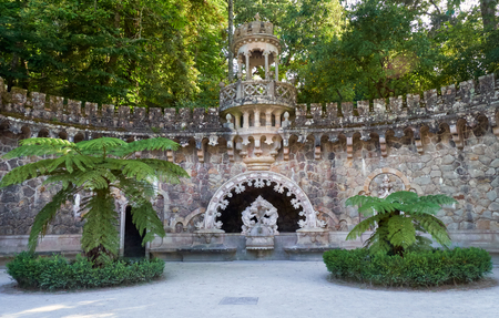 Portal of the Guardians - a pavilion under which is hidden one of the entrance way to the Initiatic well. Quinta da Regaleira. Sintra. Portugal