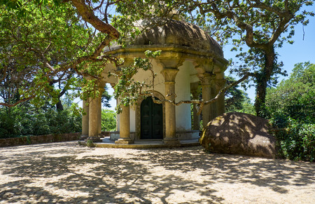 Small temple of the Columns in the Park of Pena, serving as a viewpoint over the Palace of Pena. It was built on the site of a chapel dedicated to St. Anthony. Sintra. Portugal