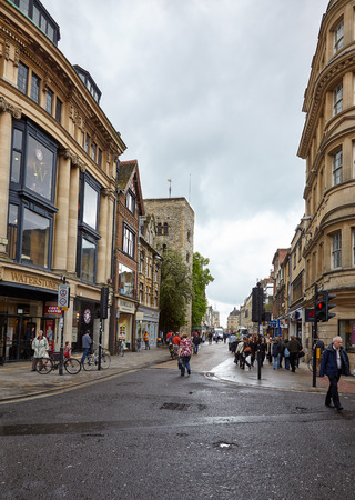 OXFORD, ENGLAND - MAY 15, 2009: The street of the rainbow after the rain. Oxford. England.