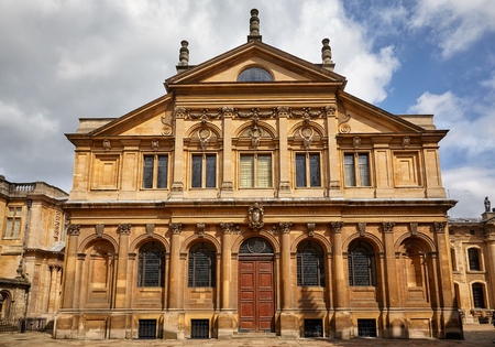 The facade of the Sheldonian Theater which is now used for music recitals, lectures, conferences, and for various ceremonies held by the University. Oxford University, Oxford, England