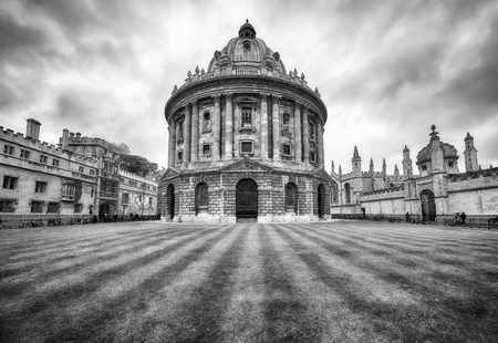 The black and white image of Radcliffe Camera, that was built to house Science library and now serving as reading room for the Bodleian library. Oxford University. England Editorial