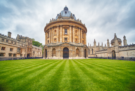 The view of Radcliffe Camera in the center of Radcliffe Square. It was built to house Science library and now serving as reading room for the Bodleian library. Oxford University. England Editorial