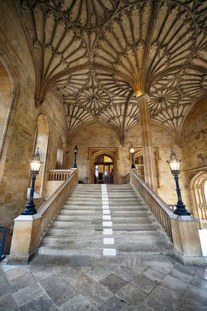 OXFORD, ENGLAND - MAY 15, 2009: The vaulted staircase in Bodley Tower that leads up to the Ante-Hall. Christ Church. Oxford University. England