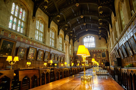 OXFORD, ENGLAND – MAY 15, 2009: The interior of the Dining Hall (Ante-Hall) of Christ Church. Oxford University. England