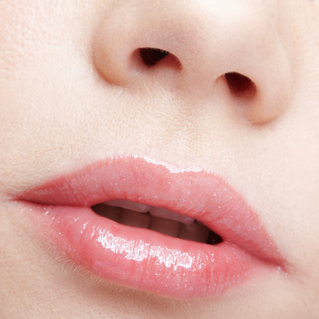 Human mouth and nose. Closeup macro portrait of female part of face. Woman lips with day beauty makeup.