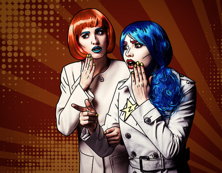 Portrait of young women in comic pop art make-up style on red cartoon background. Female detectives investigate a crime