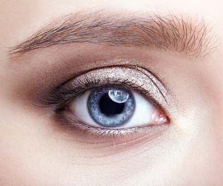 Closeup macro shot of blue human woman eye. Female with smoky eyes makeup Stock Photo