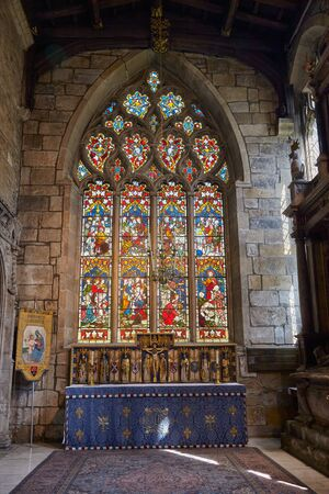 SHEFFIELD, ENGLAND - MAY 7, 2009: The interior of the family Shrewsbury Chapel in the Sheffield Cathedral. Stained glass window. Sheffield. England 報道画像