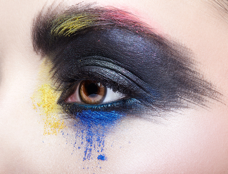 Close-up macro portrait of beautiful woman eye zone make up. Female eye with unusual artistic painting makeup. Фото со стока