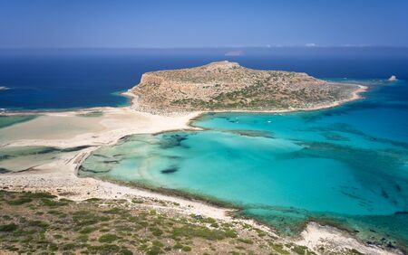 Aerial view from drone on Tigani cape and Balos lagoon with sandy beach. Dimos Kissamou, Chania prefecture, Crete, Greece. Banco de Imagens