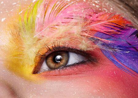 Tiro de macro de primer plano del ojo femenino. Mujer con maquillaje elegante brillante y pestañas de plumas de moda falsa