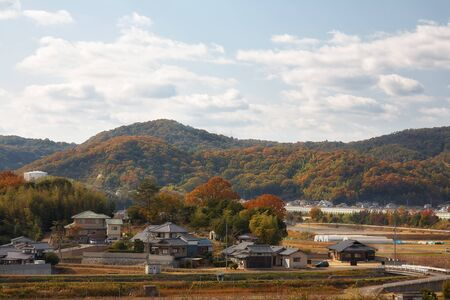 View on japanese countryside with forested hills on background.