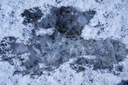 Texture of hoarfrost crystals over river ice. Natural winter snow background.