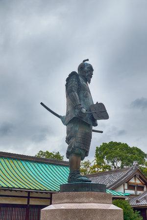 OSAKA, JAPAN - OCTOBER 14, 2019:  Statue of Toyotomi Hideyoshi – the great daimyo, warrior, general, samurai, and politician of the Sengoku period in the Hokoku Shrine in the Osaka Castle. Japan