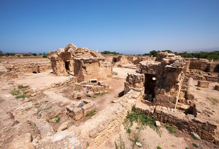 The ruins of Saranta Kolones castle - the medieval fortress built on the site of an earlier Byzantine fort. Paphos Archaeological Park. Cyprus Imagens