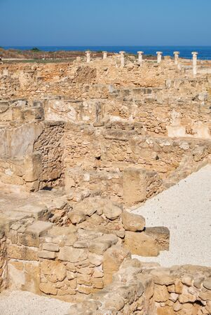 The remains of the ancient Roman House of Theseus. The villa was the residence of the Roman proconsul or governor. Paphos Archaeological Park. Cyprus