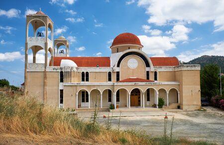 Agios Panteleimonas church – the beautiful representation of modern Byzantine style  architecture. Kakopetria village. Nicosia District. Cyprus