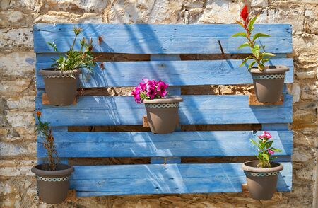 The decorative wooden shield pot plant holder with blooming flowers on the stone wall of old house in the Pano Lefkara village. Cyprus