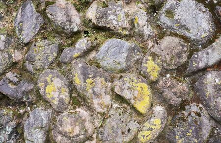 The background of old stone wall covered with moss and lichens at japanese shrine. Kyoto. Japan