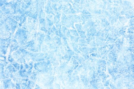 Surface of winter ice on Baikal lake in Siberia . Blue background of Ice texture Imagens