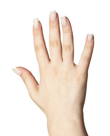 Female hand with woman's professional natural perfect french nails manicure isolated on white background